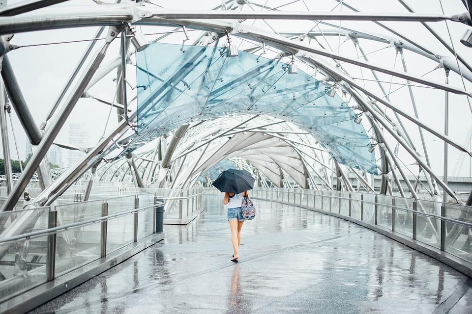 傘をさす女性の後ろ姿