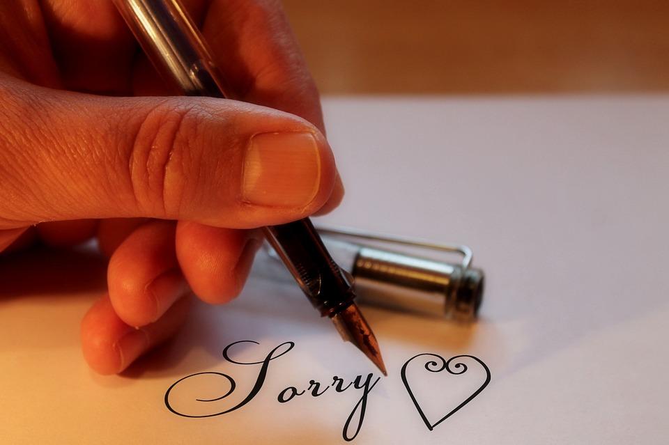 手紙で謝罪